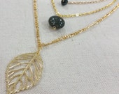 Triple Strand Gold Leaf Mixed Media Necklace
