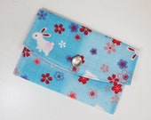 Sakura & Bunny Business Card Case/ Gift Card Holder/ Mini Coin Purse - Sky Blue