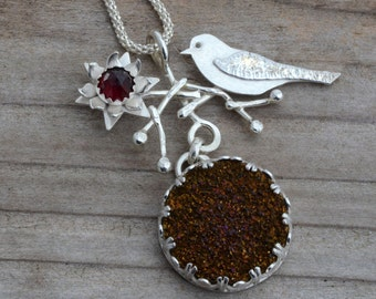 Druzy necklace pendant, druzy crystal quartz, silver bird necklace, garnet, drusy contemporary jewelry, natural stone jewelry, unusual gift