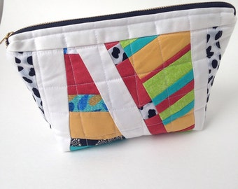 Improvizational Quilted Multi Color Zipper Case