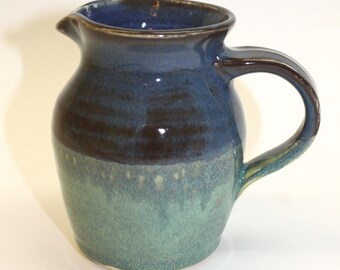 Ceramic Pitcher  Ceramic creamer in green and Blue  Ready to Ship- In-Stock
