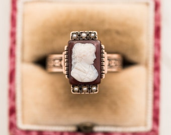 Victorian Estate 14K Gold Hand Carved Cameo & Seed Pearl Ring
