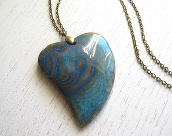 Blue and Orange Heart Shaped Dragon Veins Agate Pendant
