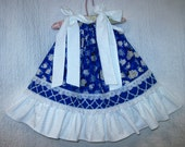 Girls Dress Size Fits 12M-18M Lambs Sheep Blue White Boutique Pillowcase Dress