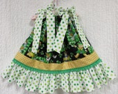 Baby Girl St. Patrick's Day Dress Size 12M to 18M Shamrocks Cats Kitty Dots Pot of Gold Handmade Boutique Pillowcase Dress