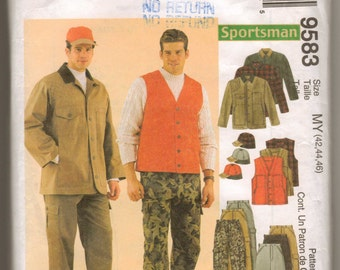 McCalls Sewing Pattern 9583 for Men's Unlined Jacket, Vest, Pants, Hat Chest 42-44-46 New and Uncut