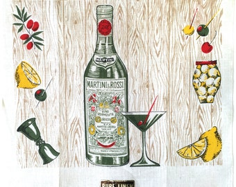 Vintage Tea Towel Martini Rossi Cocktail Glass Bottle Bar Advertising Textile NOS New Old Stock