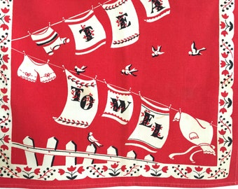 Vintage TEA Towel Laundry Clothesline Red White Black