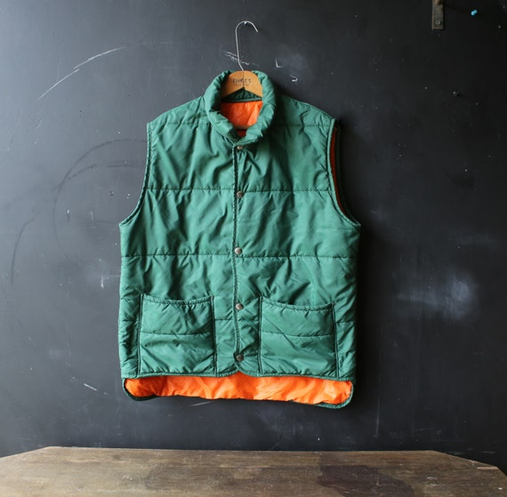 vintage vest outdoor mens rugged wear cing green and orange