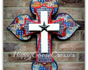 """Wall Cross - Wood Cross - Military - Medium - """"God Bless America"""" in Navy, Red, and White"""
