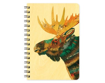 Dolan Moose Pocket Notebook -  A Collaboration with Mixed Media Artist Dolan Geiman - Real Birch Wood Jotter Notepad - J1756