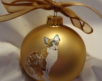 Devon Rex Cat Hand Painted Christmas Ornament - Can Be Personalized with Name