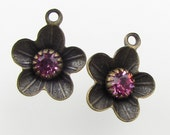 Vintage Swarovski Rhinestone Rose Pink Flower Charm Antiqued Brass Setting Bead Drop Metal Finding uvf0693 (2)