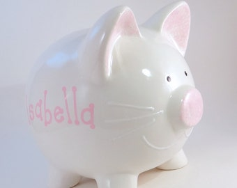 White Kitty Cat Piggy Bank - Personalized Piggy Bank - Cat Lovers Gift - Pussy Cat Bank - Ceramic Kitten Bank - with hole or NO hole