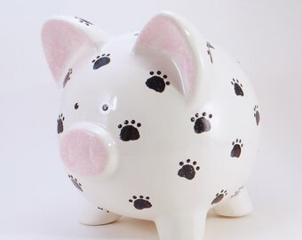 Paw Prints Piggy Bank - Personalized Piggy Bank - Puppy Prints Bank - Ceramic Piggy Bank - Pet Piggy Bank - with hole or NO hole in bottom