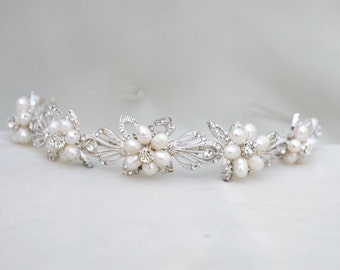 Bridal Pearl & Crystal Headband / Wedding Headpiece / Bridal Tiara / Vintage Inspired Bridal Headpiece