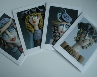 HANDMADE CARDS, Greeting Cards, Women in Hats, Women Greeting Cards, Photo Cards, Cards, Set of 4 Greeting Cards, Card Pack