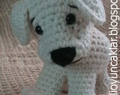 20 cm and 9 cm white crocheted custom dog