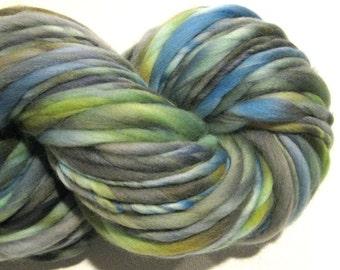 Super Bulky Handspun Yarn, Natural Disaster 90 yards, hand dyed merino wool, blue grey gray green, knitting supplies, crochet supplies