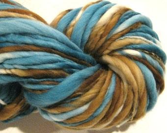Handspun Yarn Beachcomber 130 yards hand dyed merino wool teal yarn brown blue yarn waldorf doll hair knitting supplies crochet supplies