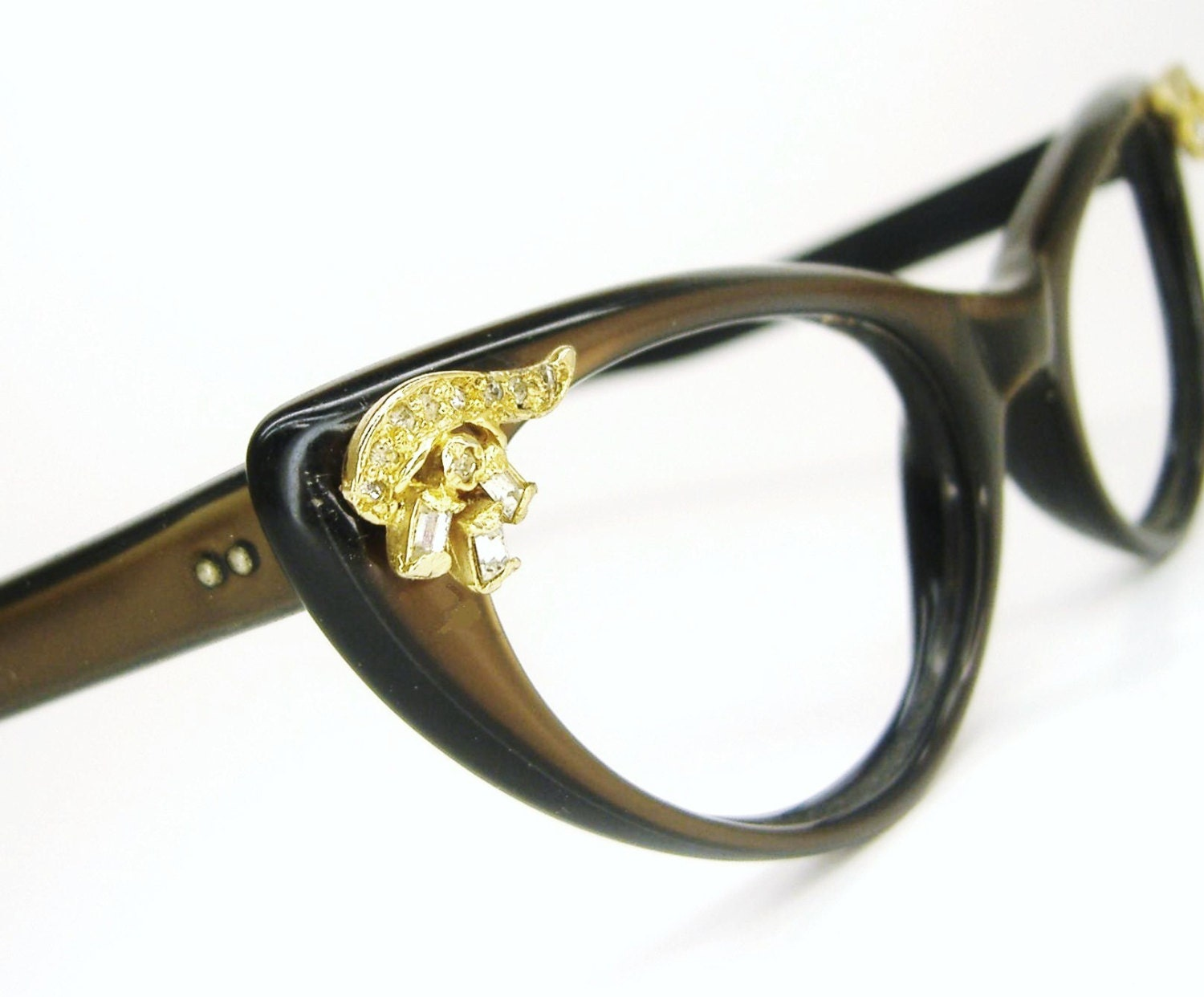 Eyeglass Frame Tighteners : Vintage Bling Cat Eye Eyeglasses Sunglasses Frame