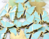 Turquoise Vintage Style Butterflies Charms Pendants - 4
