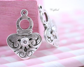 Antique Sterling Silver Plated Tribal Pendant 14x23mm Metal Casting Ethnic Heart Shape Charm - 2 .