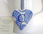 Sale - C - Monogram - Hand painted porcelain  Heart -  Dutch Valentine gift - wall hanging - Blue and White  - Holland - original artwork