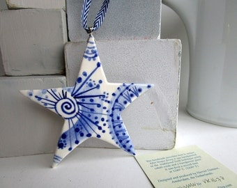 North Star - Delft Blue  - Hand painted  Blue and white Delftware  porcelain Christmas Decoration
