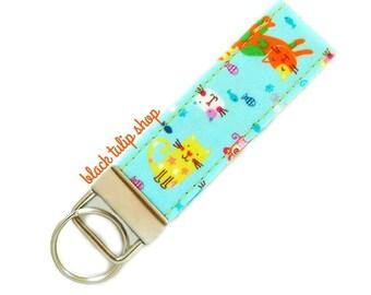Cute Cat Keychain Fabric Key Fob Kittens Key Ring Purse Accessories Small Gift Colrful Cats Kawaii Japanese Fabric