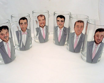 Custom Groomsmen Gifts Personalized Painted Pilsner Beer Mugs (6) Six Custom Caricatures-Unique Bridal Party Gift