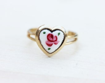 Vintage Enamel Rose Flower Ring