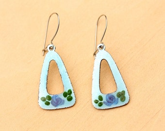 Guilloche Triangle Drop Earrings - Blue or Yellow