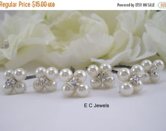 Bridal Hairpins with Pearls and Rhinestones