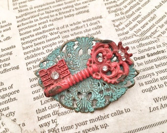 Steampunk, Antique, Aqua, Filigree, Metal, Red Vintage Inspired, Key, Brooch, with Crystals