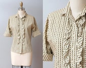 AWAY SALE > SALE - 1950s Blouse - Olive Folk Print Ruffle 50s Blouse