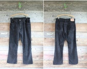 80s Levi's 517 black corduroy pants | 1980s men's cords | waist 36""
