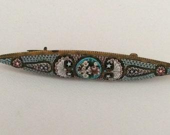 Micro mosaic antique brooch - nouveau - floral - victorian -