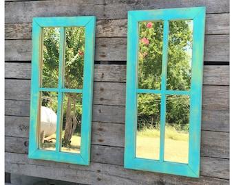 Mirrors - Wall Mirrors - Decorative Mirrors - Pair of Mirrors - Window Mirrors - Beach Decor - Cottage Decor - Chic
