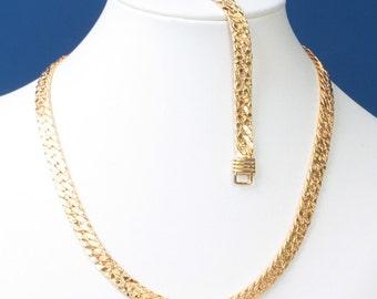Gold Tone Necklace Bracelet Set Textured Herringbone Link Vintage