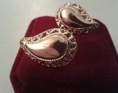 Earrings - Yellow Metal Pierced Teardrop Shaped Earrings