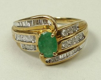 Ring - 9 ct Gold, Emerald and Diamond Ring, size 8.5 (US) Q 3/4 (UK)
