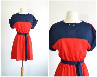 80s Color Block Mini Dress Red and Navy Blue - extra small to small