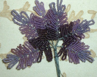 Antique French Beaded Lilac Fern Leaves