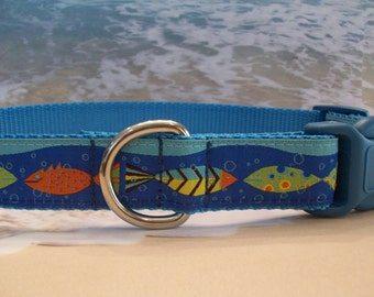Tropical Fish Dog Collar, In M, L, XL Side Release Buckle