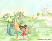 Dragons Love Fairy Tales - Girl with Curly Brown Hair Reading to a Dragon - Art Print