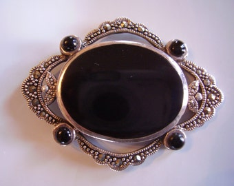 Vintage Sterling Silver, Onyx and marcasite brooch