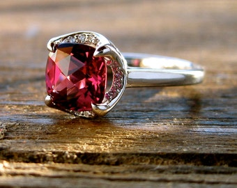 Marsala Red Garnet Engagement Ring in 14K White Gold with Diamonds and Scroll Detail Size 5