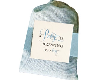 A Baby Boy is Brewing Tea Bag party favor