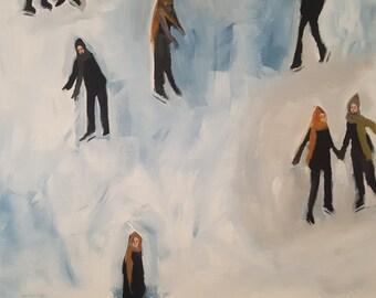 "Original Painting , 16 x 20, Folk art, modern, impressionist, ice skating, winter, ""Silly Skaters"""